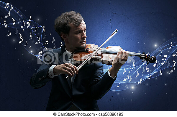 Lonely composer playing on violin - csp58396193