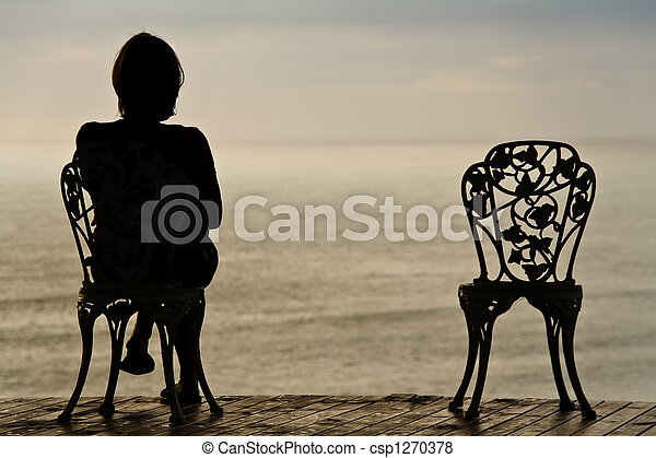 Lonely girl on a chair - csp1270378