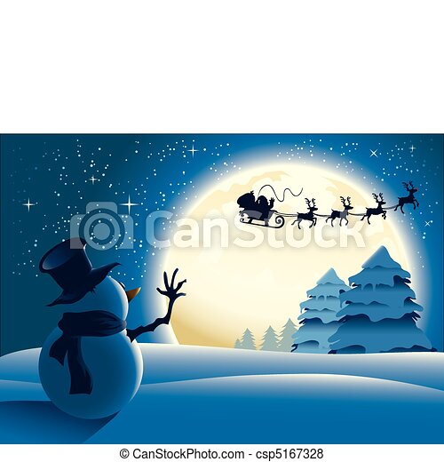 Lonely Snowman Waving to Santa - csp5167328