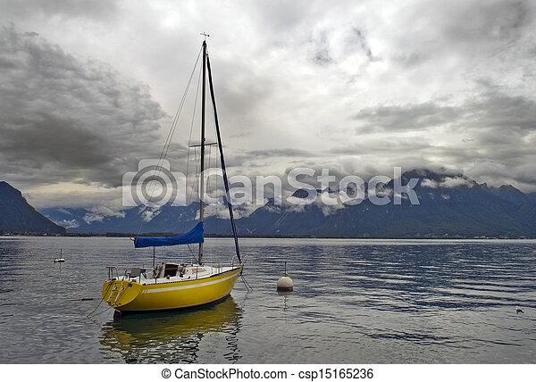 lonely yacht on Lake Geneva - csp15165236