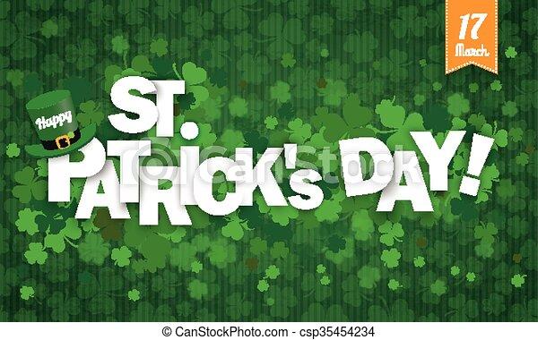 Long Background Hat Shamrocks Ribbon Happy St Patricks Day - csp35454234