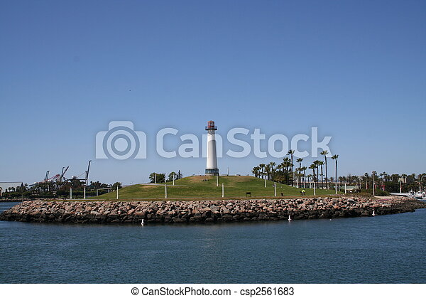 Long Beach California Lighthouse Horizontal View - csp2561683