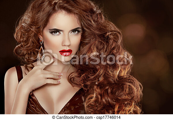 Long Curly Red Hair Beautiful Fashion Woman Portrait Beauty Model Girl With Luxurious Glossy Stock Photo