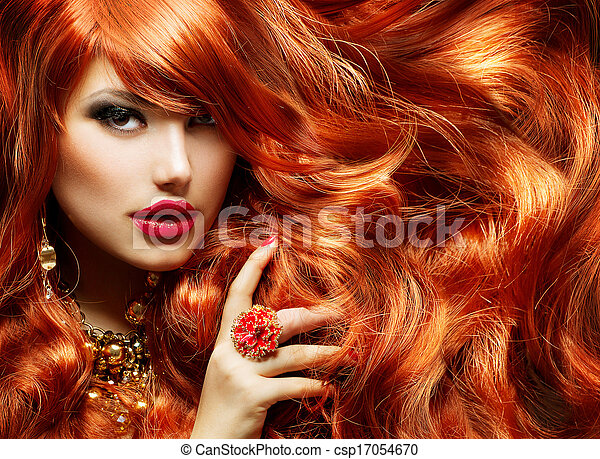 Long Curly Red Hair. Fashion Woman Portrait  - csp17054670