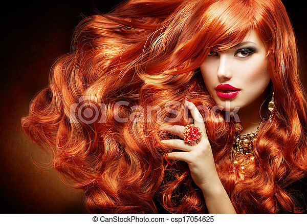 Long Curly Red Hair. Fashion Woman Portrait - csp17054625