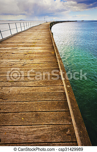 Long Curving Jetty - csp31429989
