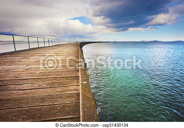 Long Curving Jetty - csp31430134
