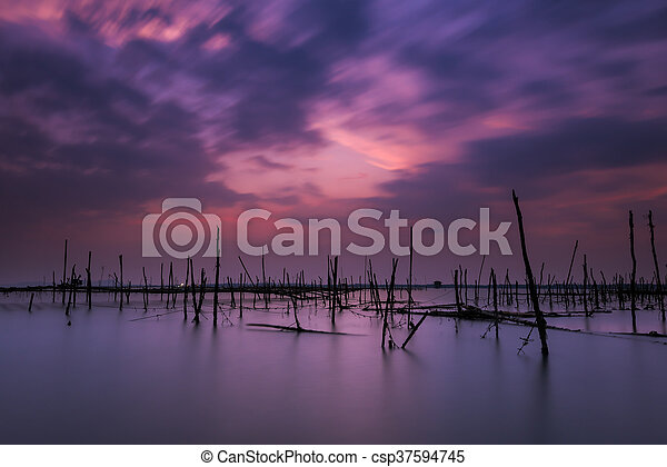 Long exposure on the beach with the oyster farms - csp37594745
