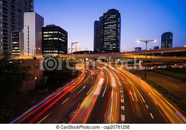 Long exposure traffic scene of tokyo - csp20781258