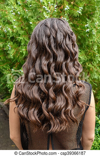 Long Glossy Curly Hair Back View Back View Of Brunette Woman With