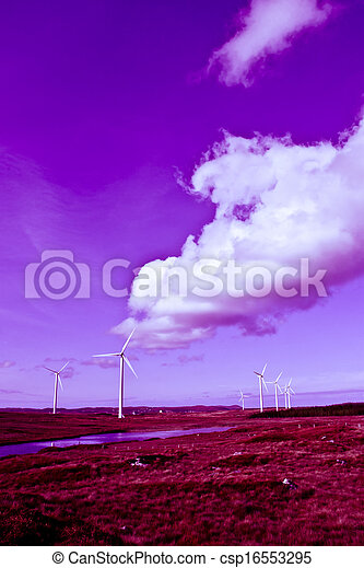 long grass and bogland with wind turbines toned - csp16553295