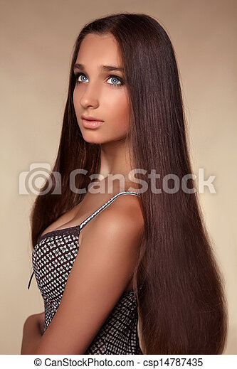 long hair. beauty woman with healthy shiny smooth brown stock
