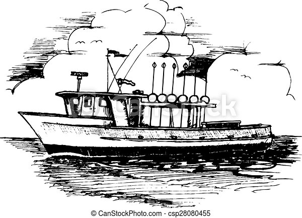 Line Drawing Vector Graphics : Long line fishing boat. ocean going liner shrimper clipart