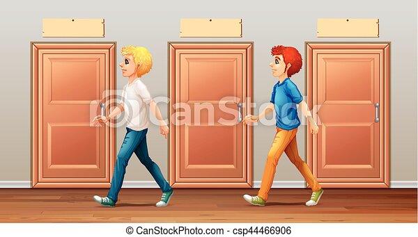long, marche, hommes, deux, couloir - csp44466906