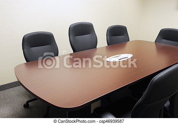Long Meeting Table And Chairs In The Meeting Room - Long meeting table