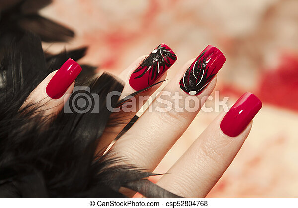 Long Red Nails Long Red Nails With Design Of Black Feathers On