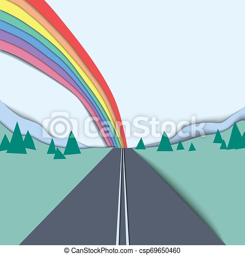 Long road and rainbow over the mountain and sky landscape, paper cutting style - csp69650460
