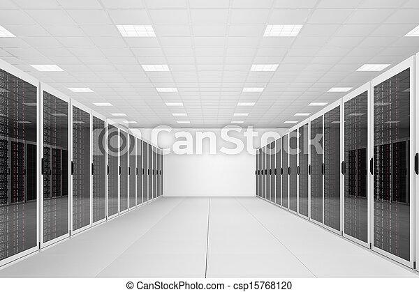 long row of server racks - csp15768120