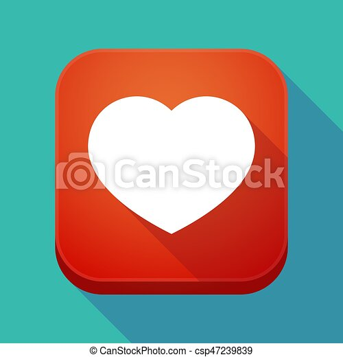 Long Shadow App Icon With A Heart Illuatration Of A Long Shadow App