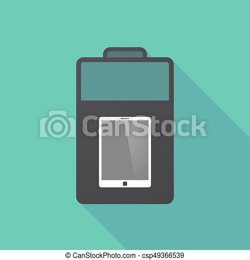 Long shadow battery with a tablet computer - csp49366539