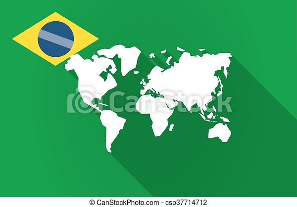 Illustration of a long shadow brazil flag with a world map vector long shadow brazil flag with a world map csp37714712 gumiabroncs Choice Image