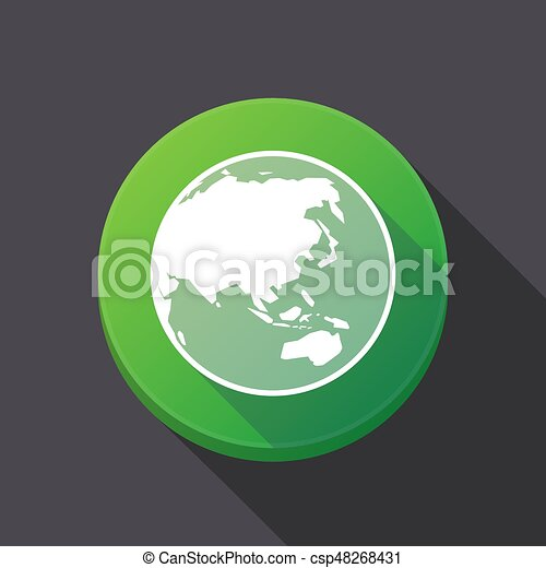 Round Globe Map.Long Shadow Button With An Asia Pacific World Globe Map