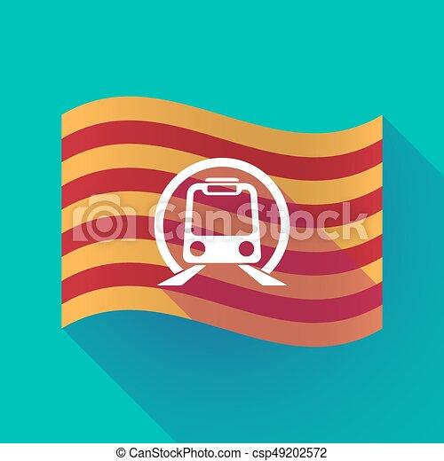 Long Shadow Catalonia Flag With A Subway Train Icon Illustration Of A Long Shadow Waving Catalonia Flag With A Subway Train