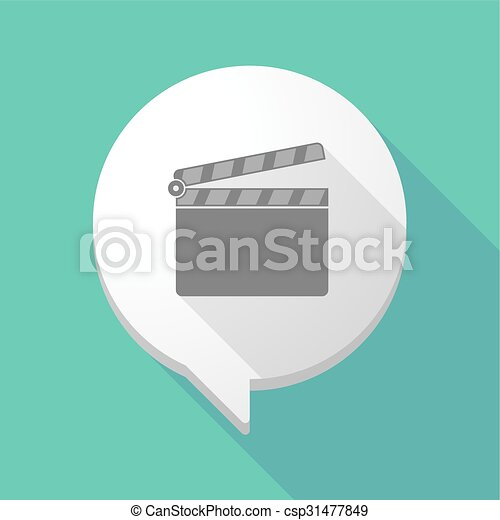Long shadow comic balloon with a clapperboard - csp31477849