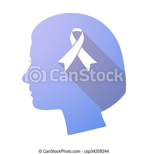 Long shadow female head with an awareness ribbon - csp34258244