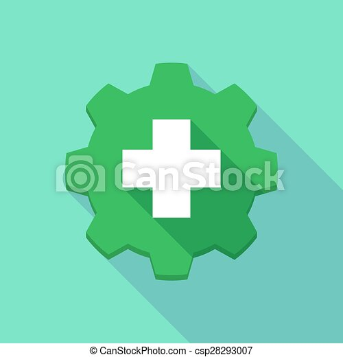 Long shadow gear icon with a pharmacy icon - csp28293007