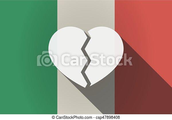 Long shadow  Italy flag with a broken heart - csp47898408
