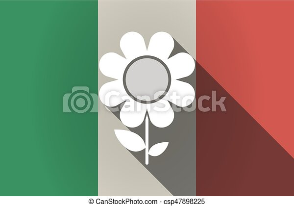 Long shadow  Italy flag with a flower - csp47898225