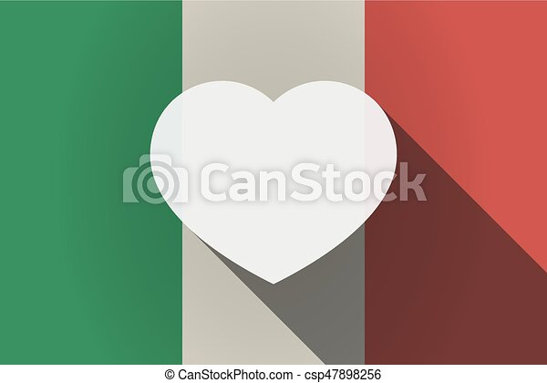 Long shadow  Italy flag with a heart - csp47898256