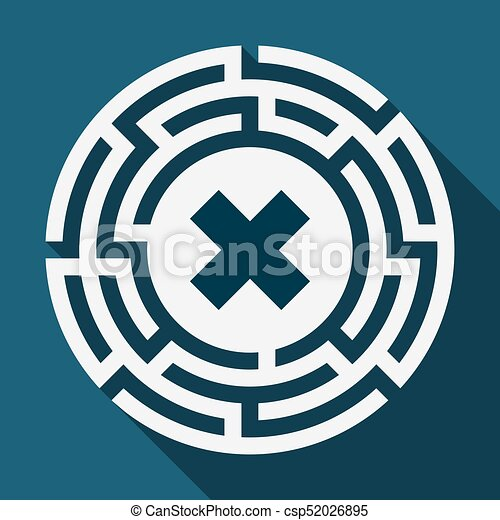 Illustration Of A Long Shadow Labyrinth With An X Sign Eps Vectors