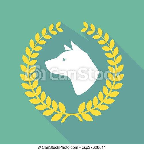long shadow laurel wreath icon with  a dog head - csp37628811