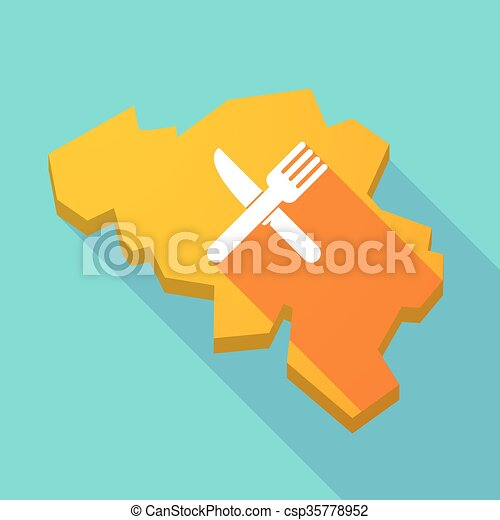 Long shadow map of Belgium with a knife and a fork - csp35778952