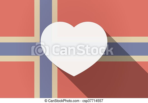 Long shadow Norway flag with a heart - csp37714557