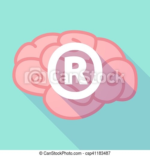 Long Shadow Pink Brain Icon With The Registered Trademark Vector
