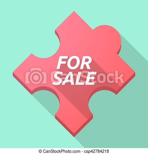 Long shadow puzzle piece with the text FOR SALE - csp42784218