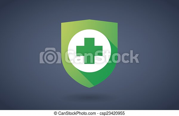 Long shadow shield icon with a pharmacy sign - csp23420955