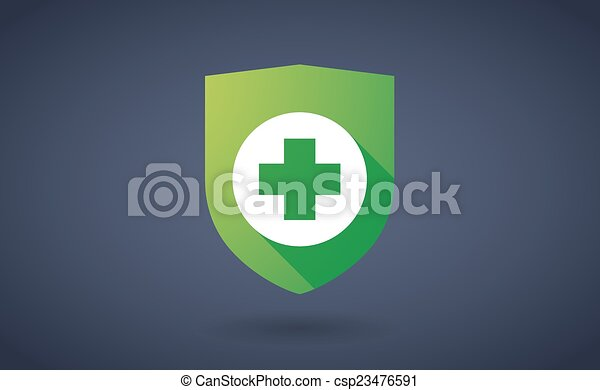 Long shadow shield icon with a pharmacy sign - csp23476591