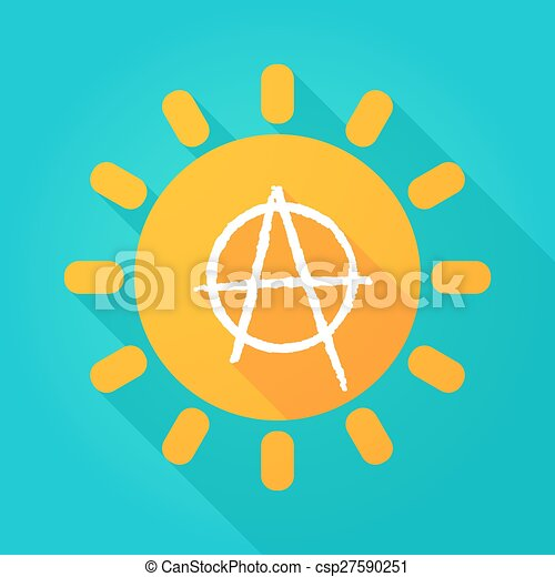 Long shadow sun icon with an anarchy sign - csp27590251