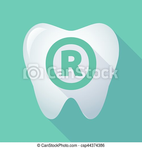 Long Shadow Tooth With The Registered Trademark Symbol Vector