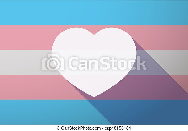 Long shadow transgender flag with a heart - csp48156184