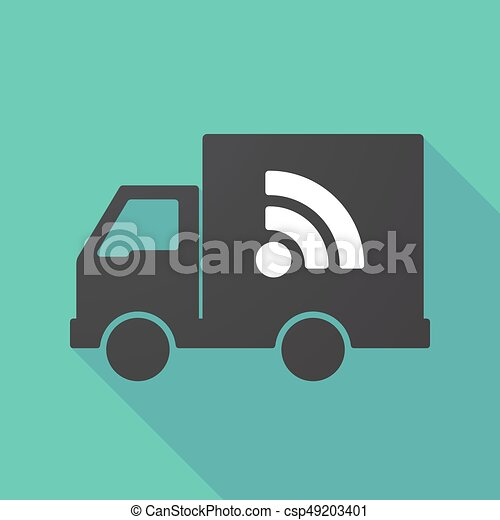 Long shadow truck with an RSS sign - csp49203401