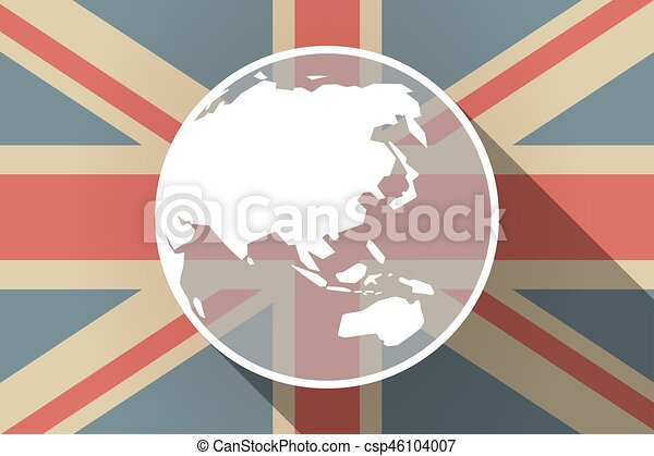 Long shadow uk flag with an asia pacific world globe map long shadow uk flag with an asia pacific world globe map csp46104007 gumiabroncs Image collections