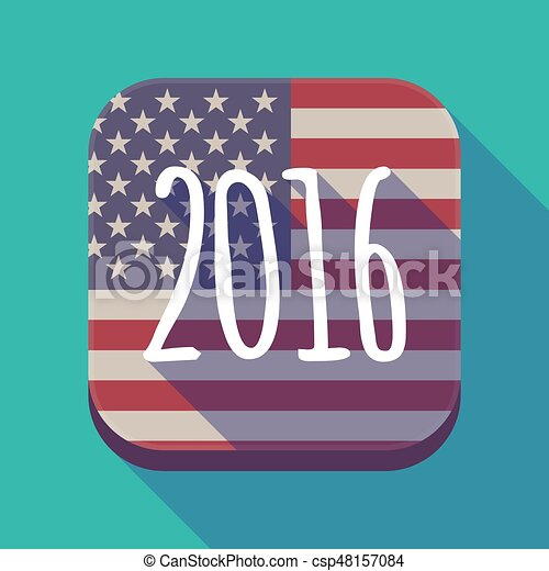 Long shadow USA app button with a 2016 sign - csp48157084