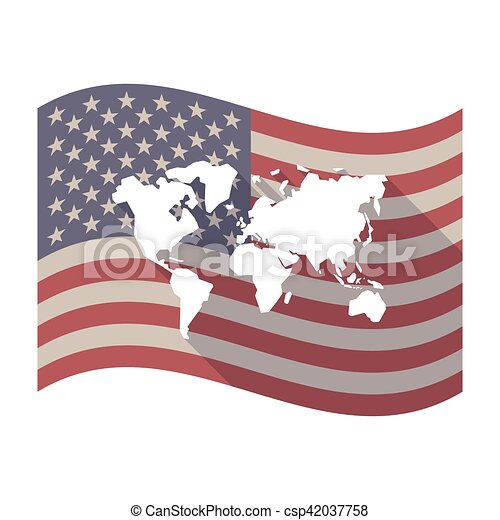 Long shadow usa flag with a world map illustration of an isolated long shadow usa flag with a world map csp42037758 gumiabroncs Images