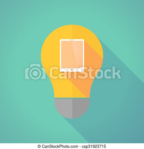 Long shadow vector light bulb with a tablet computer - csp31923715