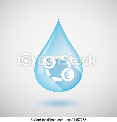 Long shadow water drop icon with a dollar euro exchange sign - csp34457788